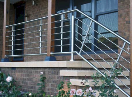 Bridco stainless steel rod holders shown on balustrade