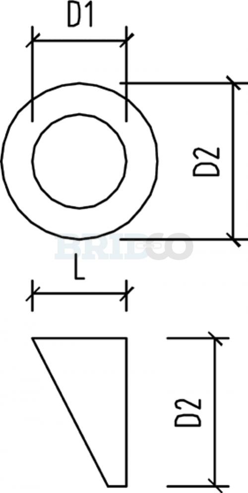 Bevelled Angled Washer Nylon diagram