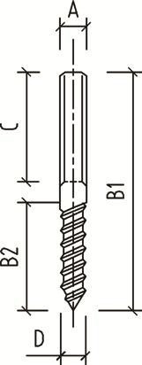 Double Threaded Lag Screw diagram