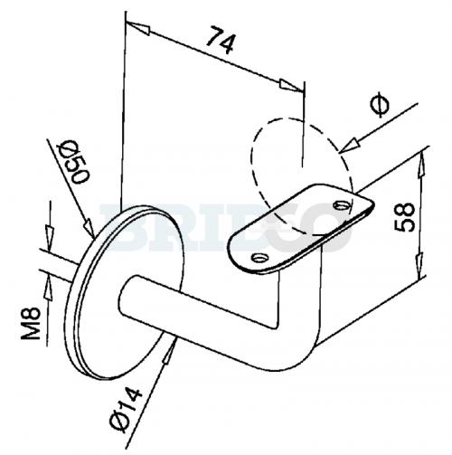 Fixed Bolt Mount Handrail Bracket For Round Rail diagram