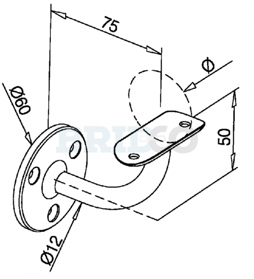 Fixed Wall Mount Handrail Bracket For Round Rail diagram