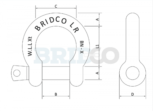 Load Rated Bow Shackle diagram