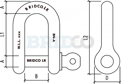 Load Rated D Shackle diagram