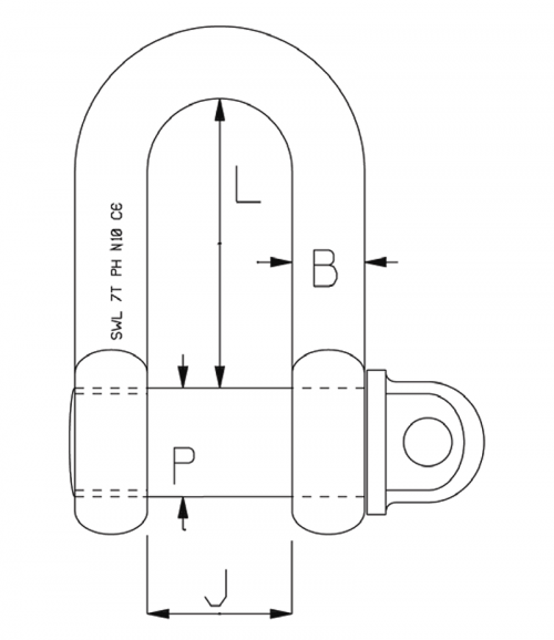 Petersen High Tensile Dee Shackle with Safety Pin diagram