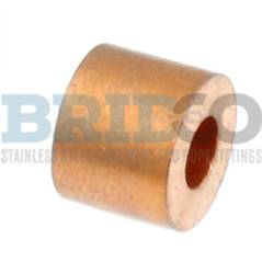 Copper hand swage shown crimped on stainless steel wire